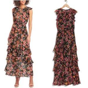 Rachel Roy Floral Ruffled Maxi Dress black pink 4